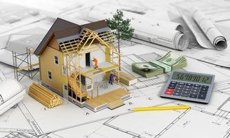 concept van constructie en architect ontwerp.