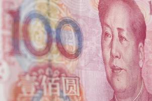macro-opname voor renminbi (rmb), 100 honderd dollar. foto