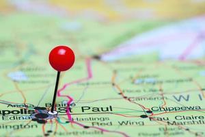 St Paul vastgemaakt op een kaart van Verenigde Staten foto