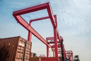 container vracht werf foto