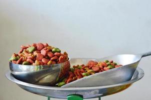 hondenvoer in roestvrijstalen kom en schep op weegschaal foto