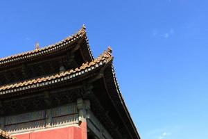 dakranden van de tempel foto