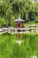 rode paviljoen lotus tuin tempel van sun park beijing china foto