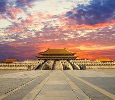 verboden stad in de zonsondergang, Πin Peking China foto