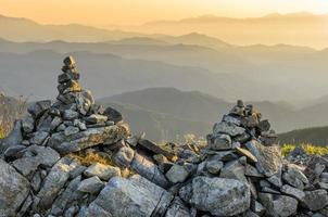 berg zonsopgang nagano japan steenhopen foto
