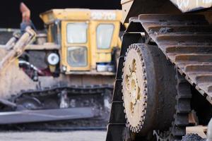 close-up bulldozer in de bouwplaats foto