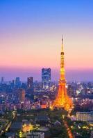 luchtfoto van de stad Tokio en de toren van Tokyo foto