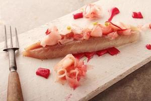uitgeharde makreelfilets met rabarber foto