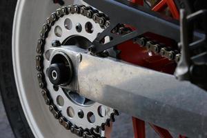motorfietswiel en aandrijving foto