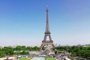 Eiffeltoren en Parijs stadsgezicht foto