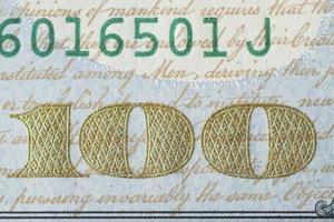 fragment van nieuwe 100 US dollar biljet 2013 editie. foto