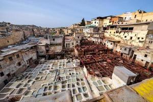 leerlooierij in fez, marokko foto