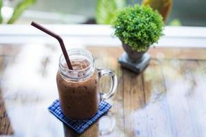 ijs chocolade op een tafel foto