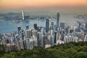 hong kong, stad skyline, aanzicht, van, victoria, peak