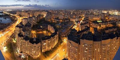 Kiev panorama 's nachts foto