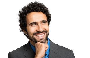 zelfverzekerde manager op witte achtergrond foto