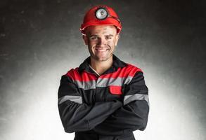 lachende mijnwerker foto