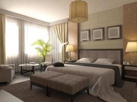 3D-afbeelding van het ontwerp van een badkamer in bruine kleur foto