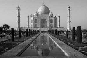 taj mahal zwart en wit - agra, india foto