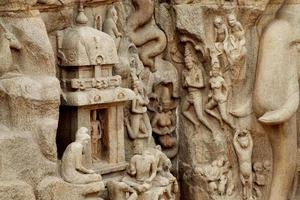 boete van arjuna - afdaling van de ganges, mahabalipuram, india foto