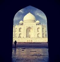 vintage retro gefilterd beeld van Taj Mahal, India. foto