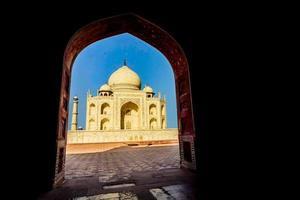 Taj Mahal, blauwe lucht, reis naar India
