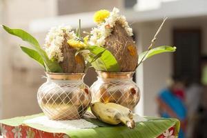 mangal kalash voor de functie van draadceremonie in de hindoeïstische religie. foto