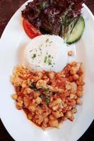 vegetarische maaltijd met kikkererwten en bloemkool foto