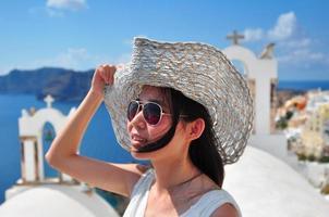 zomervakantie in Santorini foto