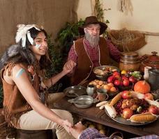 Thanksgiving pelgrims re-enactment foto