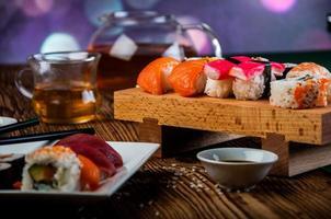 Japanse zeevruchten, sushi set