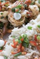 garnalen gebakken met Spaanse pepers en groene uien, Aziatische gerechten