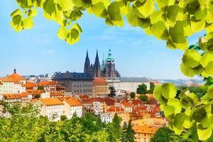 panorama van praag hrad en vitas kathedraal foto