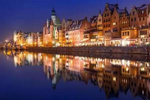 oude stad van Gdansk 's nachts