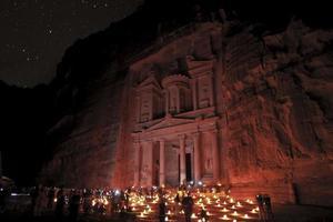 petra historisch zicht 's nachts foto