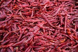 in de zon gedroogde chili peper achtergrond. foto