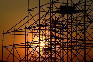 silhouet van de bouwplaats foto