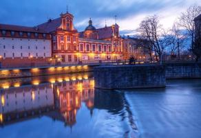 Cityscape van Wroclaw bij nacht foto