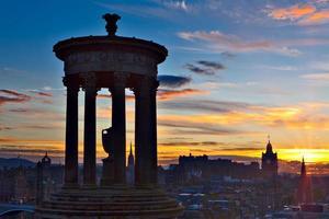 Edinburgh stad bij zonsondergang