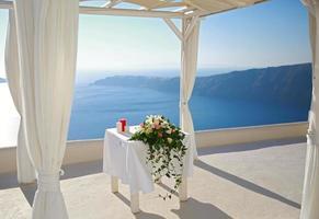 bruiloft decoratie op Santorini foto