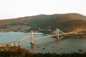 luchtfoto van hangbrug over water