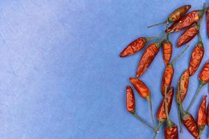 rode gedroogde chili pepers op blauwe achtergrond foto