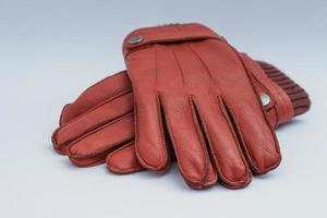 bruine leren handschoenen foto