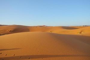 erg chebbi zandduin tegen heldere blauwe hemel foto