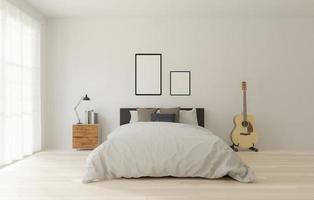 slaapkamer in loft-stijl met witte muur