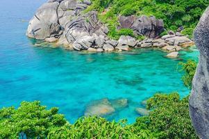helderblauwe zee op een eiland