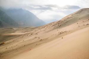 zandduinen van koude woestijn temidden van bergen foto