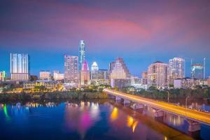 skyline van het centrum van austin texas usa foto