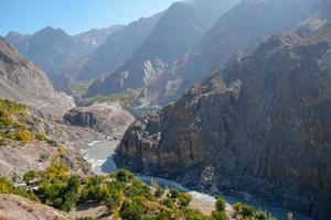 indus rivier stroomt door karakoram gebergte foto