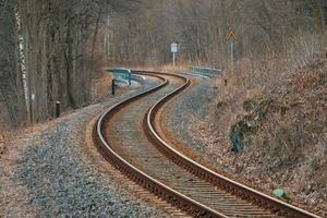 spoorlijnen in een bos foto